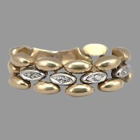 Vintage 18K Yellow and White GOLD Diamond Mesh Flex RING 6.5 Grams Size 7 Hollow