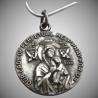 Vintage STERLING Silver Our Lady of Perpetual Help Religious Medal Charm Pendant