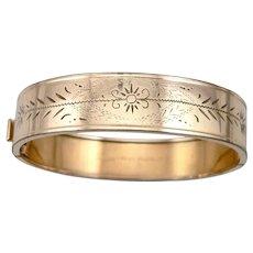"""Vintage Gold Filled 1/2"""" Wide Hinged Bangle Bracelet Engraved Design by La Mode"""