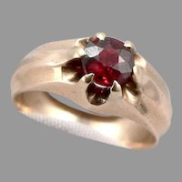 Antique 14K GOLD Victorian 0.60ct Natural GARNET Solitaire Gypsy RING 5g Sz5.5