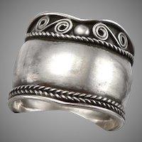 Vintage WIDE SILVER Ring Band Handmade Wirework Scroll Twist Wire Braid 4g Sz9