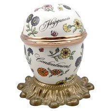 BILSTON and BATTERSEA Enamel EGG Trinket Box Stand Warm Wishes Happiness ENGLAND