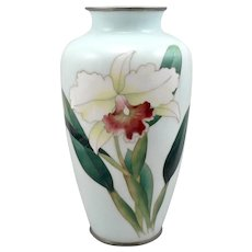 Vintage JAPANESE Cloisonné Enamel Orchid Flower Signed ANDO VASE Made in JAPAN