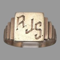 c1951 Vintage Art Deco 10K GOLD Signet RING RJS Monogram 3.1 Grams Size 8