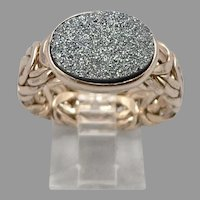 Gold on STERLING Silver Oval DRUZY Stone Byzantine RING 5.6g Size 10 Hollow