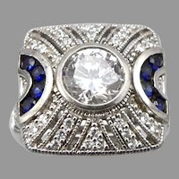 STERLING Silver CZ & Lab Blue Sapphire RING Art Deco Design 6.4g Size 7.25 ESPO