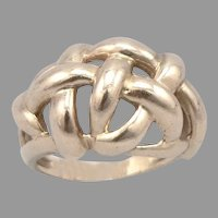Vintage 10K Yellow GOLD Open Weave Knot Dome RING 6.5 Grams Size 8 Woven Design