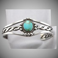 Vintage Turquoise Cabochon Silver Twisted Wire Cuff Bracelet Southwestern Heavy