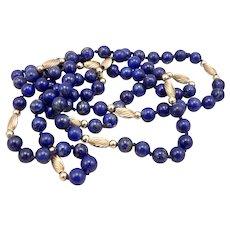 "Vintage 7mm Blue Lapis Lazuli 14K Yellow GOLD Beaded Bead Necklace 34.75"" Long"