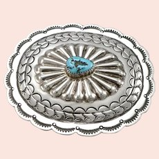 Vintage SILVER Southwestern Turquoise Nugget BELT BUCKLE Concho Hand Tooled 41g