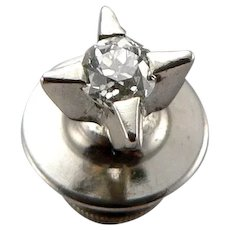 Vintage 14K White GOLD .22tcw DIAMOND Solitaire Tie Tack Lapel Pin 0.7g Euro Cut