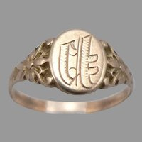 Antique Victorian 10K GOLD Floral Signet RING 1.5 Grams Ostby & Barton Size 5.5