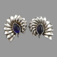 Vintage Sterling Silver Valfran Brody Design Shell Form Screwback Earrings