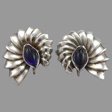 Vintage Sterling Silver Valfran Brody Design Shell Form Screwback Earrings