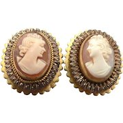 Vintage Hand Carved Shell Cameo Clip On Earrings Goldtone