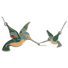 Vintage SILVER & Resin Enamel HUMMINGBIRD NECKLACE Bird 6.5 Grams Unusual Design