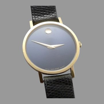 Vintage MOVADO Steel Blue Grey Dial Men's WRIST WATCH Swiss Quartz Wristwatch