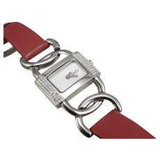 D&G Dolce & Gabbana Quartz Ladies Wristwatch Wrist Watch Red Leather Band BOX