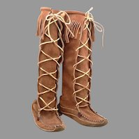 c1960's Vintage Suede LEATHER Tall Mid Calf Moccasin BOOTS Fringe Hippie Shoes