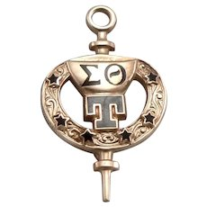 Vintage SIGMA THETA TAU 10K Gold Enamel Honor Society of Nursing Key Pin NURSE