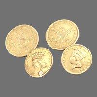 Antique GOLD COIN Cufflinks $2.5 Quarter Eagle Liberty $1 Indian Princess 13.3g