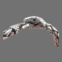 "Vintage STERLING Silver Ouroboros SNAKE BRACELET 6 7/8"" Onyx Eyes Heavy 52.3g"