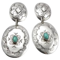 Vintage Native STERLING Silver Turquoise Concho Dangle Earrings Southwestern 10g