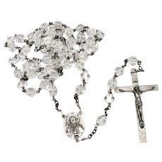 Vintage STERLING Silver Faceted Lead Crystal Glass Bead Beaded ROSARY 47 Grams