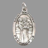 Vintage Saint Anthony STERLING Silver Religious Medal Pendant Chapel
