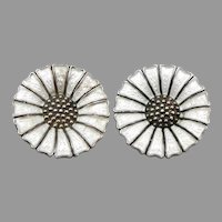 1940s Vintage Anton Michelsen DENMARK Marguerite Daisy Guilloche Enamel EARRINGS