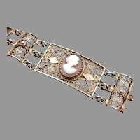 ITALY Vintage 800 SILVER Filigree Vermeil CAMEO Bracelet Hand Carved Shell 18.7g