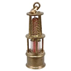 Vintage Miniature Miners Safety Lantern Lamp Charm Pendant Watch Fob 3-D 6.5g