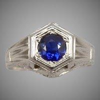 Vintage ART DECO 14K White GOLD Lab Blue Sapphire Solitaire Ring 4.2g Size 8.75