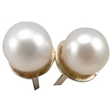 Vintage 14K Yellow GOLD 5mm Cultured Pearl Solitaire STUD Pierced EARRINGS 1.3g