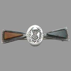 Antique Victorian Sterling Silver Scottish Thistle Pin Brooch Jasper Bloodstone