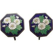 Vintage Silver and Enamel Screwback Earrings Floral Chrysanthemum Flower Japanese Cloisonne