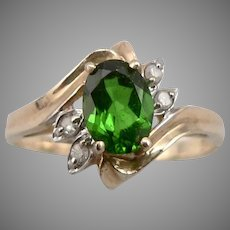 Vintage 14K Yellow GOLD .79ct Chrome Diopside Diamond RING 2.3 Grams Size 6.75