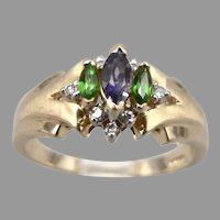 Vintage 14K Yellow GOLD .48tcw Iolite Chrome Diopside Diamond Ring 4g Size 8