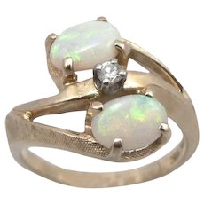 Vintage 14K Yellow GOLD Two Opal Cabochon Bypass and Diamond Ring 4.5g Size 6.5