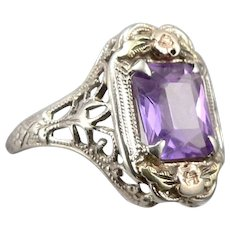Antique ART DECO 14K White GOLD Filigree 2.25ct Purple Sapphire RING 2g Size 5.5