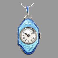 Vintage Art Deco STERLING Silver 2 Color Blue Guilloche Enamel Pendant Watch 15J