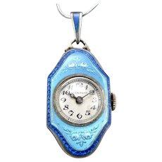 Vintage Art Deco STERLING Silver 2 Color Blue Guilloche Enamel Pendant Watch 15J