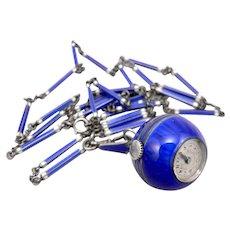 Vintage Art Deco STERLING Silver Blue Guilloche Enamel Ball Pendant Watch Chain