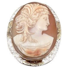 Antique 14K Yellow Gold Hand Carved Shell CAMEO Brooch Pin Pendant 11.7g Vintage