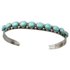 Vintage Silver TURQUOISE Native American Handmade Cuff Bracelet Southwestern