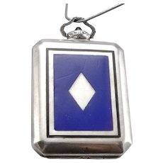 Vintage Art Deco Silver Enamel Pendant Watch Travel Clock Unsigned Levy-Wander 29.8g