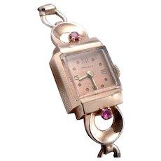 Vintage Art Deco Retro 14K Rose GOLD Ruby Ladies Wristwatch Wrist Watch FREMES