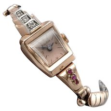 BULOVA Vintage Art Deco Retro 14K Rose GOLD Ruby Diamond Ladies Wristwatch Watch