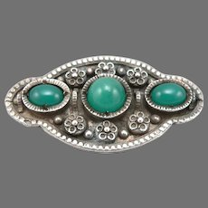 Antique French 800 Silver Green Glass Cabochon Jewel Brooch Pin France Hallmarks