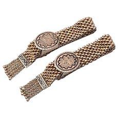 Pair Antique Victorian 10K Gold Baby Bracelets Taille d' Epergne Enamel Tassel